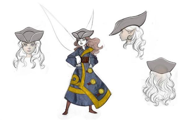Bocetos de Zarina, el hada pirata, del vestuario y sombrero - disneylandiaaldia.com