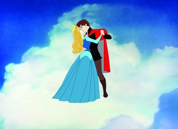 Princesa Aurora y príncipe Phillip bailando