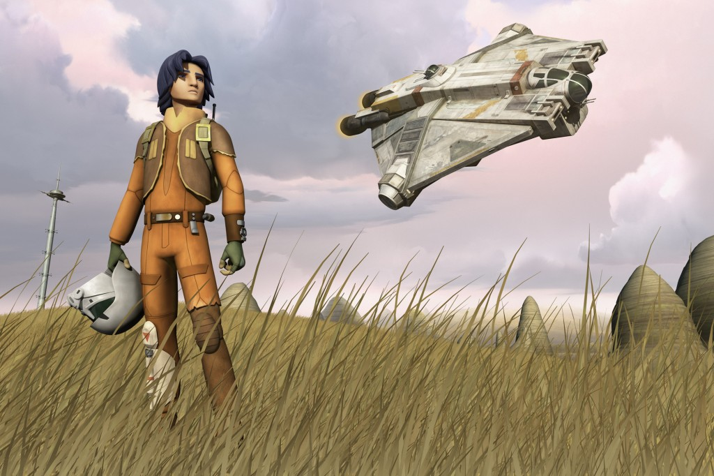Ezra Bridger y nave espacial en Star Wars Rebels