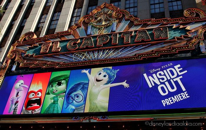 Marquesina del teatro el Capitán en Hollywood - estreno de Intensa Mente - old.disneylandiaaldia.com