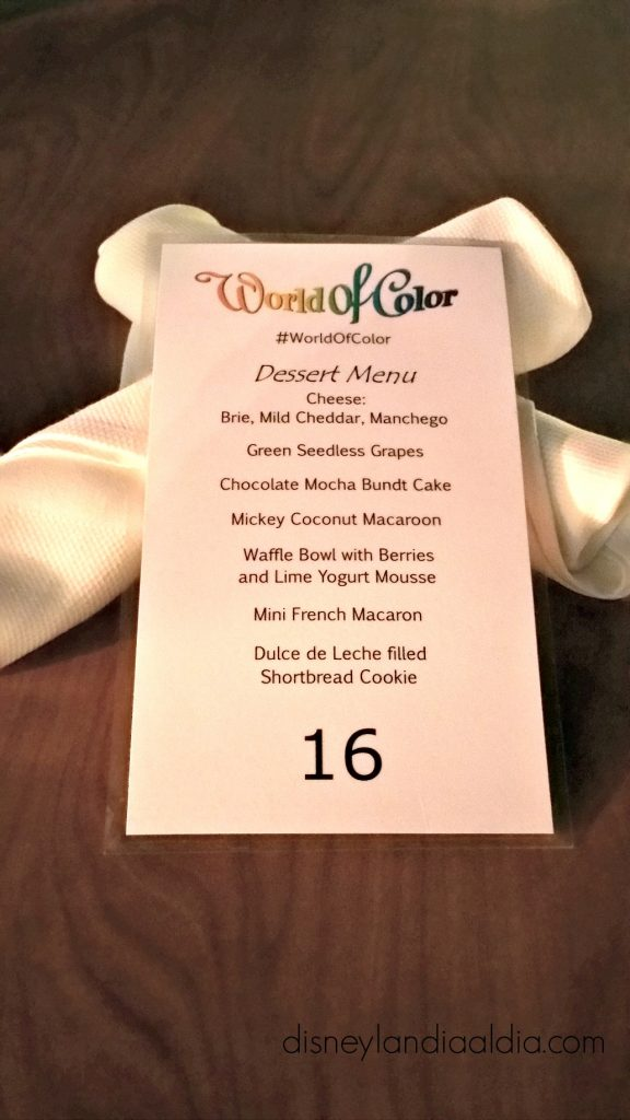 Menu de World of Color dessert party