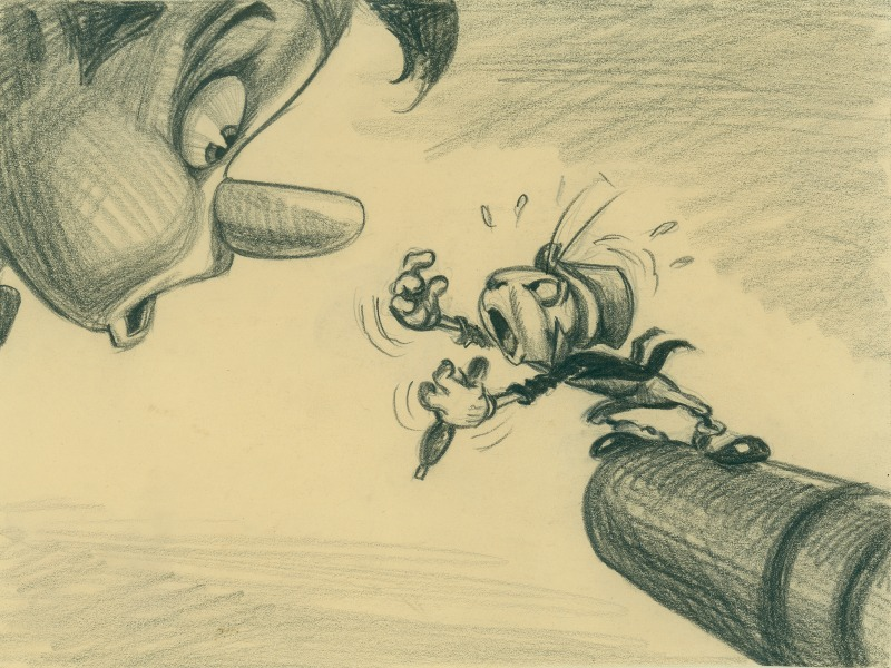 Dibujo en papel y lápiz de Pinocho y Pepe Grillo - disneylandiaaldia