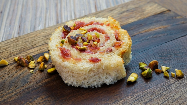 Baked ham and Swiss cheese croque monsieur roll with smoked pistachios