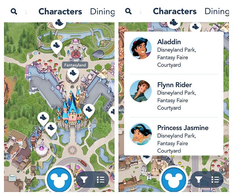 La aplicación móvil de Disneylandia muestra donde encontrar a los personajes de Disney en los parques - disneylandiaaldia.com