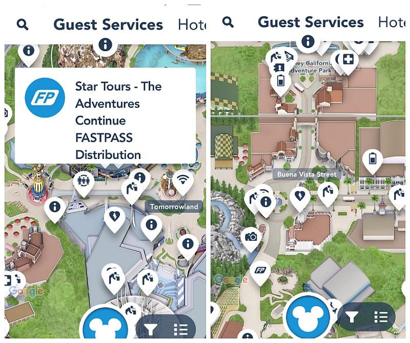 Encuentra servicios para los visitantes como FASTPASS, fuentes de agua y más con la aplicación móvil de Disneylandia - disneylandiaaldia.com