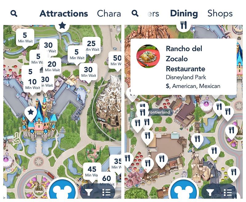 Disneyland App mostrando tiempos de espera y restaurantes - disneylandiaaldia.com