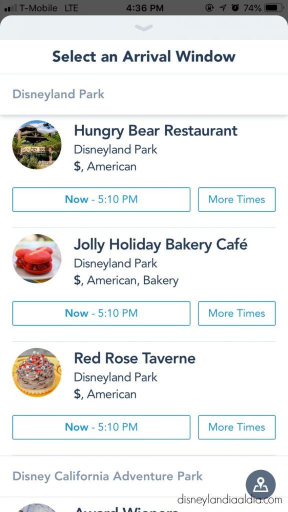 Ordenar Comida usando la Aplicación Móvil de Disneylandia