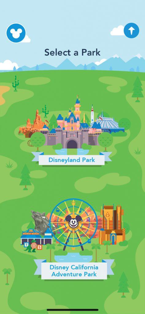 Mapa de Disneylandia en la aplicación móvil Play Disney Parks App