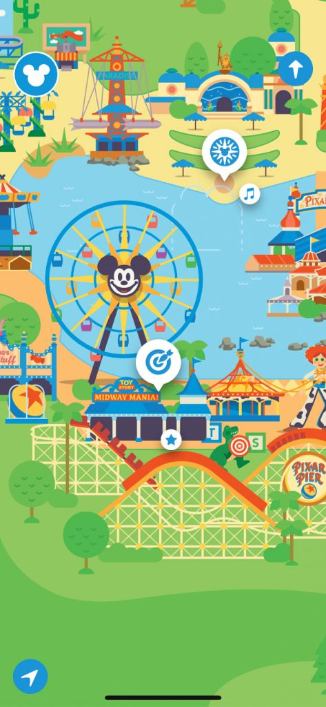Escena de Disney California Adventure en el Play Disney Parks App