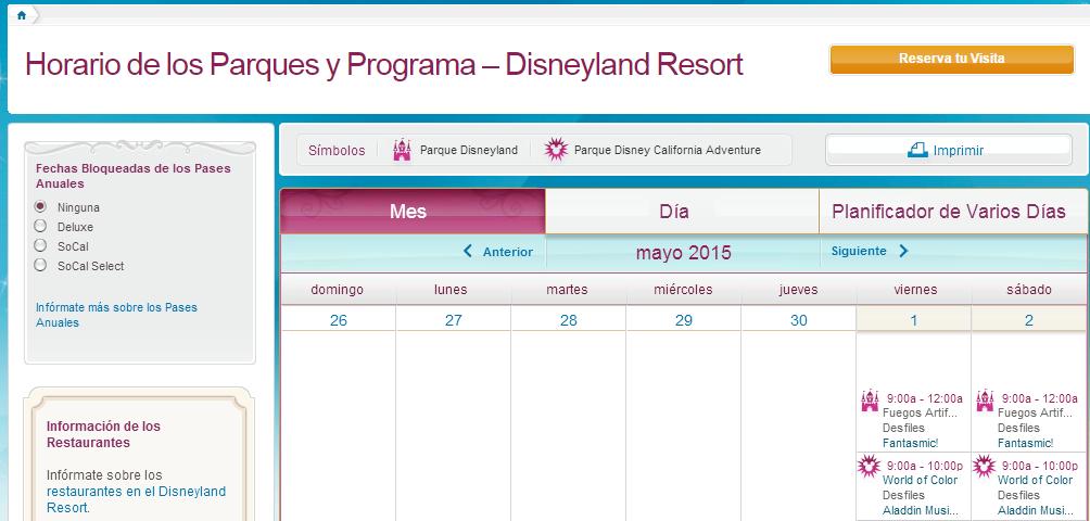 Planifica tu Viaje con el Calendario de Disneylandia