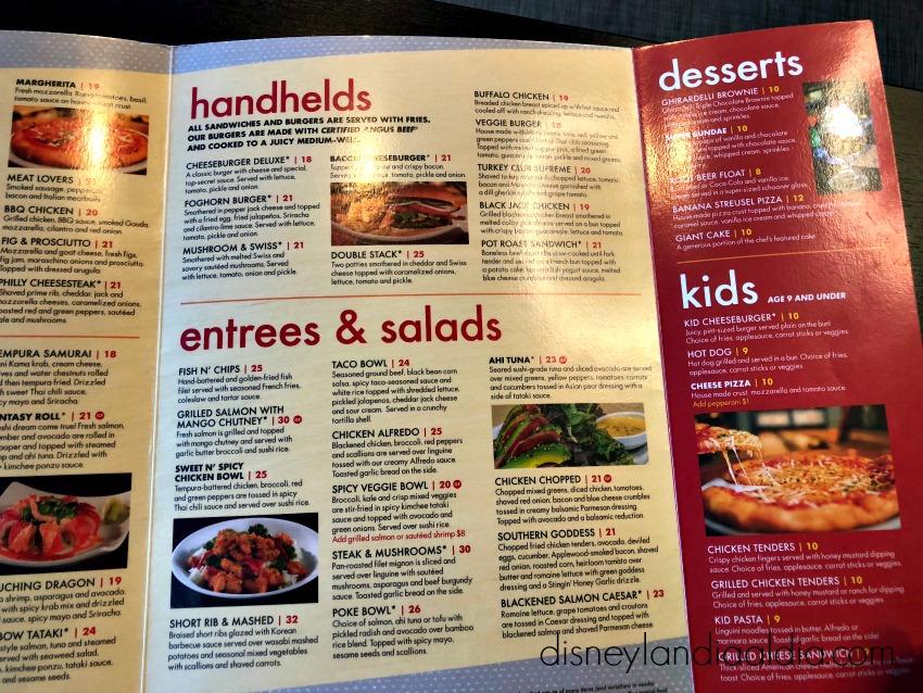 menú de Splitsville en Disneylandia