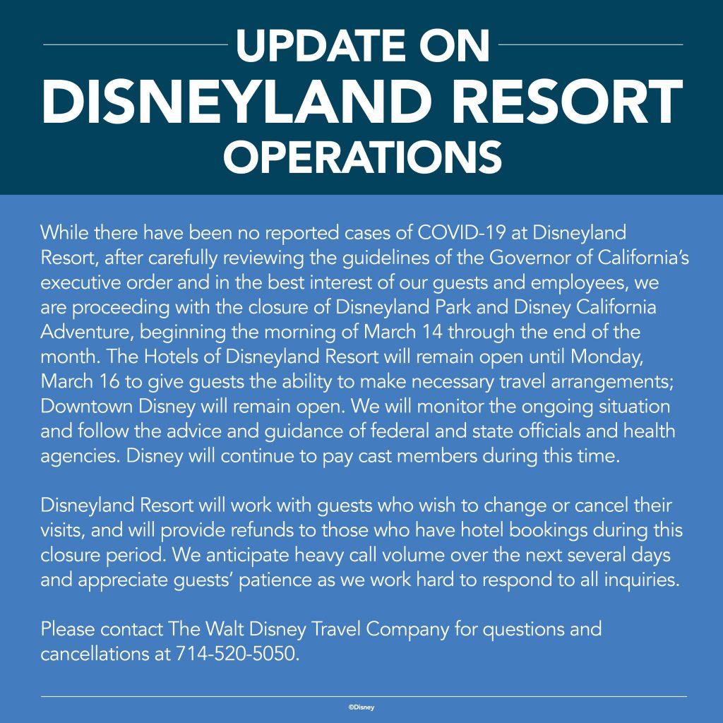 Cierre temporal el Disneyland Resort