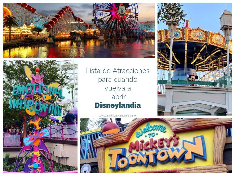 Lista de Atracciones para cuando vuelva a abrir Disneylandia